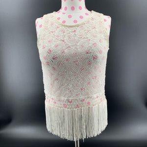 Ivory Lace Shirt with Fringe Bottom